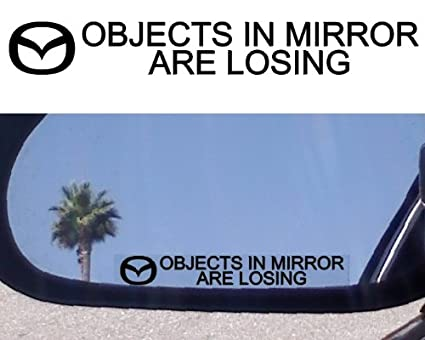 (2) MIRROR DECALS with logos for MAZDA 323 626 929 MX 3 5 6