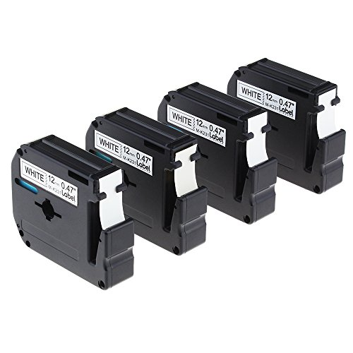 Compatible with P-Touch Brother M231 MK231 M-231 MK-231 Black on White Label Tape, Suitable for PT-M95 PT-90 PT-70SR PT70BM Labelers, 12mm x 8m(0.47Inch x 26.2Feet), 4-Pack