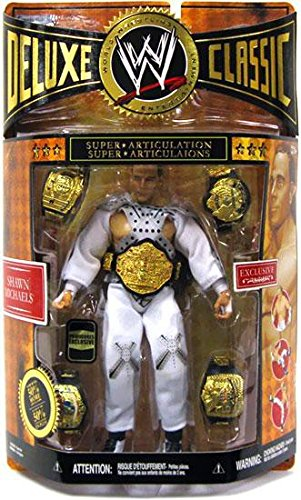 WWE Wrestling Classic Deluxe Exclusive Action Figure Shawn Michaels Wrestlemania 12 Entrance Gear with 5 Championship Diecast Belts! - Exclusive Wwe Jakks Wrestling Figure