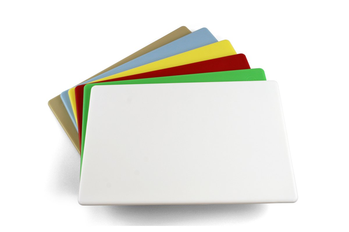 Commercial Plastic Cutting Boards, Set of 6 Colors, NSF - 20 x 15 x 0.5 inches (Multiple Colors)