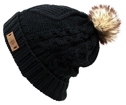 ANGELA & WILLIAM Women's Fur Pompom Fleece Lined Knitted Slouchy Beanie Hat ()