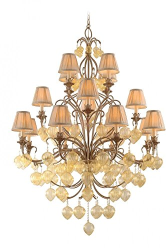Corbett Lighting 77-016 Venetian 16-Light Chandelier, Rialto Finish - Champagne Glass - Pinch Pleat (Venetian Gold Three Light Chandelier)