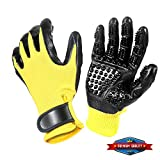 Pet Ninja Glove Pet Grooming Glove, Amazingly cat Glove, Gentle Deshedding Brush Glove - Efficient Pet Hair Remover Mitt - Enhanced Five Finger Design - Perfect for Dog & Cat - 1 Pair (Yellow)