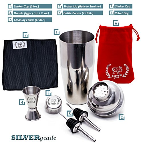 Cocktail Shaker Set - Professional Martini Bartender Kit - 24 Ounce Stainless Steel Shaker with Built-in Strainer and Lid, Double Jigger, 2 Liquor Pourers, 50 Cocktail Recipes eBook - by SILVERgrade by SILVERgrade (Image #4)