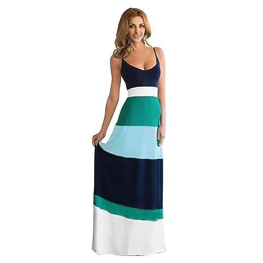 189bf8e1bd Amazon.com  Han Shi Hot Women Party Dress Summer Boho Long Maxi Sundress  Stripe Print Gown  Clothing