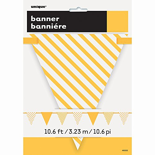 12ft Yellow Polka Dot and Striped Pennant Banner