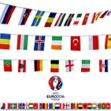 G2PLUS UEFA Euro 2016 France Top 24 String Flags Banners, 2 PCS x 23 Feet 8.2''x 5.5'' International Flag Bunting Great Decor for Olympics, Bar, Party, Sports Clubs, Festival (24 Countries Flags)