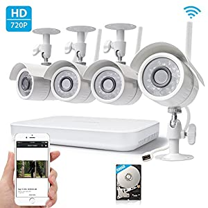 SpyGear-Zmodo 720p High Definition Wireless WiFi Smart Outdoor Indoor Home Video Security Camera System 4 Channel NVR 500GB Hard Drive - Zmodo