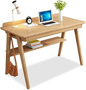 Desk Solid Wood Office Table with Drawer, Heavy Duty Office Desk Writing Study Desk Durable for Home Pc Laptop-a2 80x55cm(31.5x21.6in)