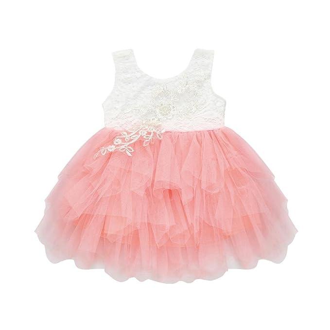 vestidos de niña, ASHOP Vestido de novia de encaje sin mangas vestidos de fiesta princesa