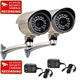 VideoSecu 2 Outdoor Built-in SONY CCD Infrared Home CCTV Security Surveillance Bullet Cameras IR LED Day Night Wide Angle CCB