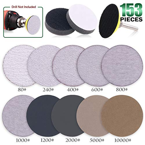 Keadic 103pcs 2 Inch Dry & Wet/Dry Hook Loop Sanding Discs Assortment Kit Multiple Grits 80-10000, with 1/4 inch Shank Backing Pad and Soft Foam Buffering Pad ()