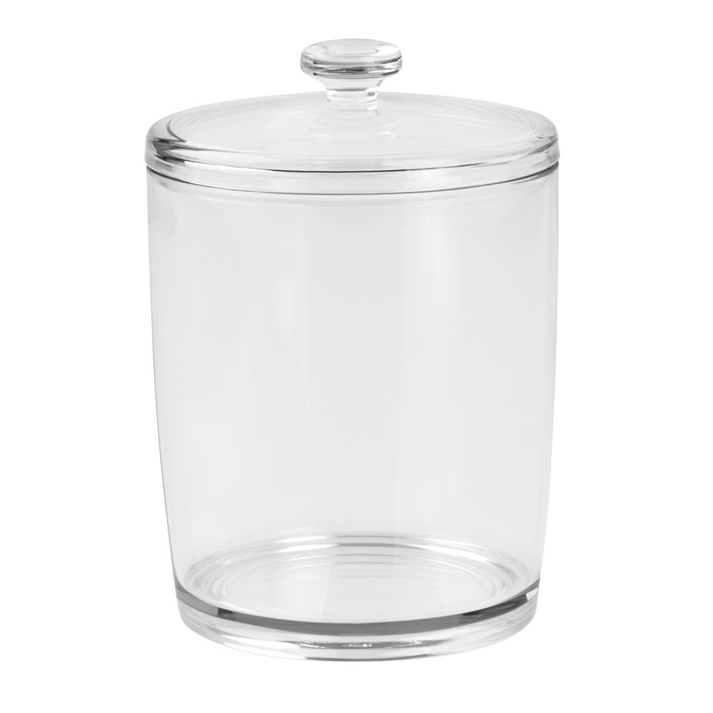 InterDesign Basic Storage Box, Medium Cotton Pad Holder with Lid, Made of Plastic, Clear 01985EU