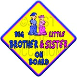 (SUN) BIG BROTHER + LITTLE SISTER ON BOARD (like baby on board sign) Non Personalised novelty baby on board car window sign.