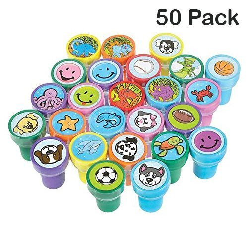 Kicko Stamps Assortment for Kids - 50 Plastic Self-Ink Stampers - to Motivate and Bribe Kids - Kids Arts' and Crafts, Collections, Prizes, Bag Stuffers