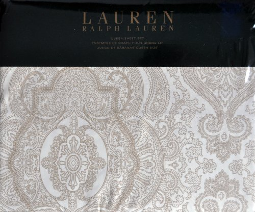Tan Medallion - Lauren Ralph Lauren QUEEN 4pc Sheet Set Tan Beige Brown Paisley Medallion on White