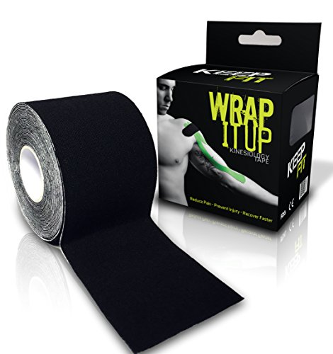 KeepFit Gear Kinesiology Tape for Athlete or Therapeutic with E-Taping Guide Wrap (Black, 2 Inch. by 16.4 feet) - Fitness Gear Pro Tape