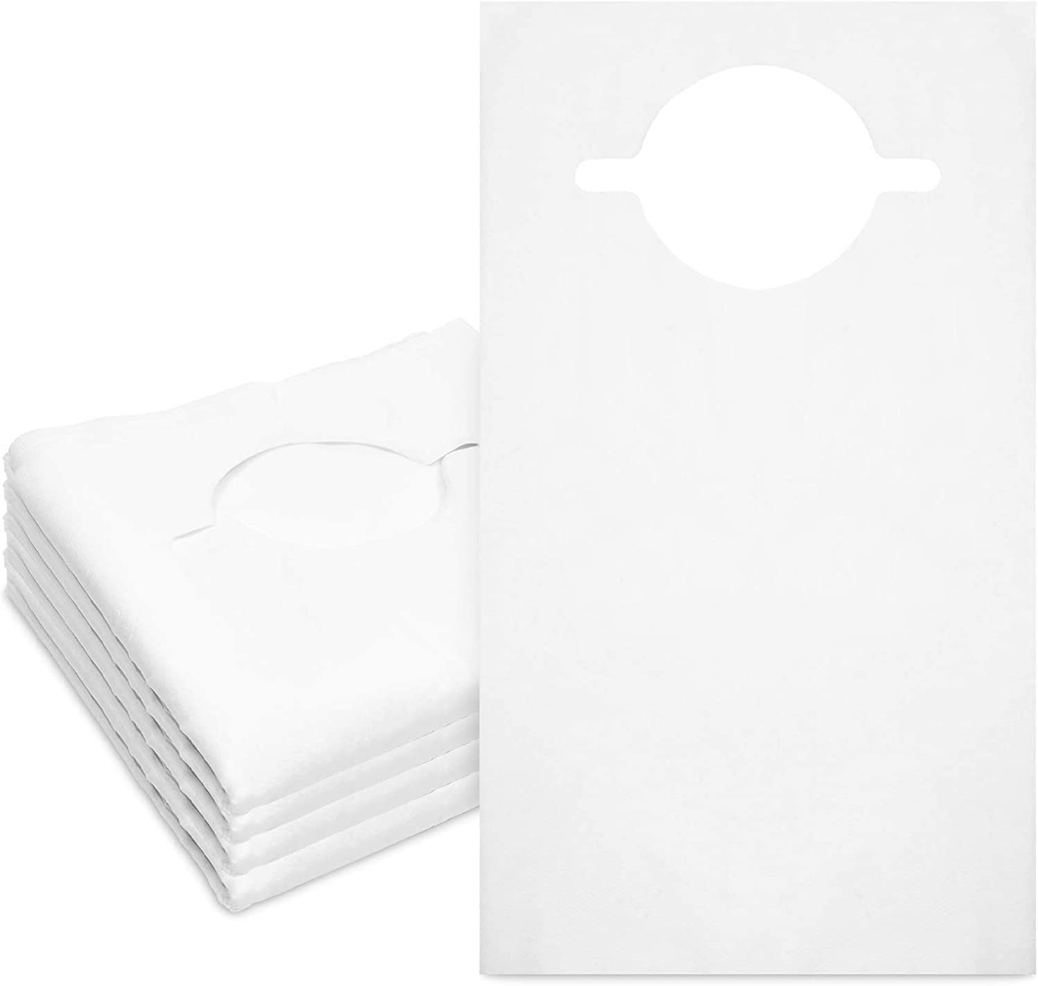 100 Pack Disposable Adult Bibs for Eating, Single-Use Clothing Protectors for Elderly, White