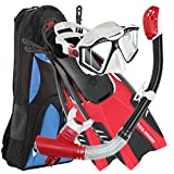 U.S. Divers Lux Platinum Snorkeling Set - Panoramic View Mask, Pivot Fins, GoPro Ready Dry Top Snorkel + Gear Bag, Black and Red L/LX