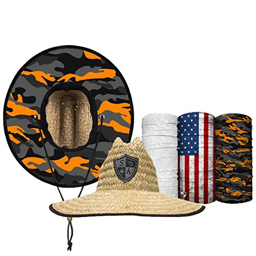 S A Straw Hat Pack - Orange & Grey Military Camo Under Brim Straw Hat for Men and Straw Hat for Women - UPF 50+ Sun Hats and 3 Face Shields ()