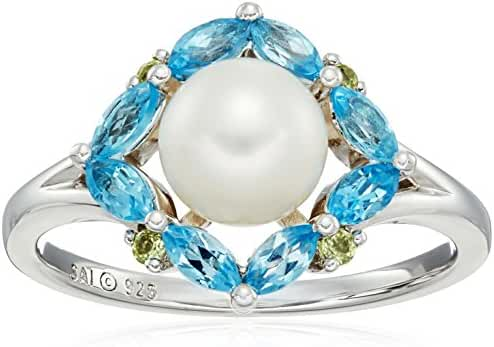 Sterling Silver Pearl, Swiss Blue Topaz and Peridot Ring, Size 7