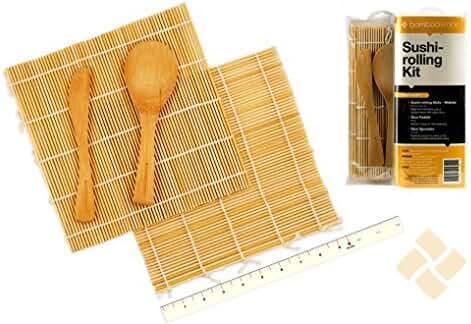 BambooWorx Sushi Making Kit – Includes 2 Sushi Rolling Mats, Rice Paddle, Rice Spreader | 100% Bamboo Sushi Mats and Utensils.