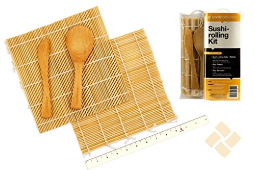 BambooWorx Sushi Making Kit – Includes 2 Sushi Rolling Mats, Rice Paddle, Rice Spreader | 100% Bamboo Sushi Mats and Utensils.