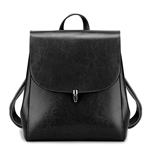 Leather Small Flap (S-ZONE Women Girls Ladies Leather Backpack Purse Daily Casual Travel Bag (Black))