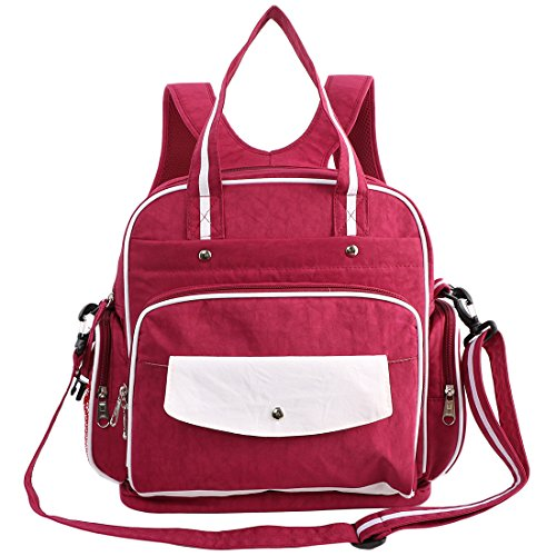 KF bebé Multi bolsillos Viajes Cambiar Bolsa de Pañales Bolso de hombro mochila caqui Talla:14 inch rosso
