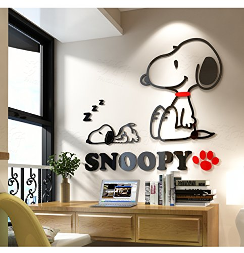 Cartoon Snoopy 3D acrylic Crystal wall stickers children Room bedroom decor Fashion style (extra-large (Snoopy Wall Decor)
