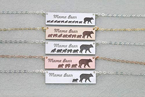 (Mama Bear Bar Necklace - IBD - 935 Sterling Silver Rose Gold Filled Horizontal - Mother's Day Gift - Mom Jewelry - Baby Cub)