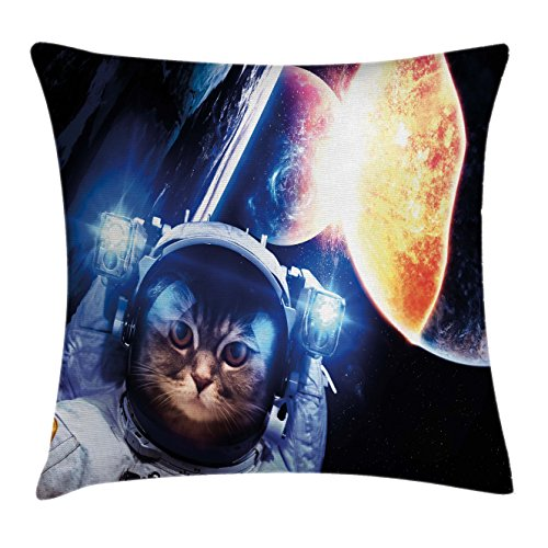 Studio Nova Cafe (Space Cat Throw Pillow Cushion Cover by Ambesonne, Kitten with Space Suit Planets Nebula Supernova Eclipse Artwork, Decorative Square Accent Pillow Case, 26 X 26 Inches, White Orange and Dark Blue)