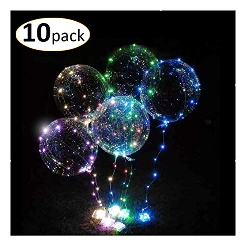 Thunder Bats Big 10-Pack LED Light up Bobo Balloons with Sticky Gel Pad -
