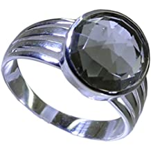 Jewelryonclick Genuine Green Amethyst 925 Silver Ring Handcrafted For Women Girls Round Shape Bezel Style