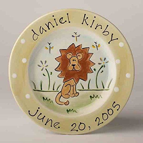 Personalized Baby Birth Plate With Lion