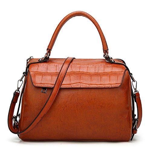Mn&Sue Retro Alligator Pattern PU leather top handle Accent Doctor Handbag Satchel Ladies Messenger Style (Doctor Style Bag)