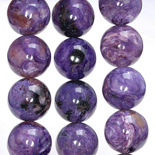 16MM Genuine Charoite Gemstone Grade AAA Round Loose Beads, Beading, Jewelry Making, DIY Crafting, Arts & Sewing by Beads