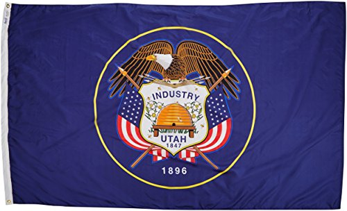Annin Flagmakers Model 145380 Utah State Flag Nylon SolarGuard NYL-Glo, 5×8 ft, 100% Made in USA to Official Design Specifications
