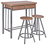 Giantex 3 Piece Metal Wood Dining Set Table and 2 Chairs Kitchen Furniture