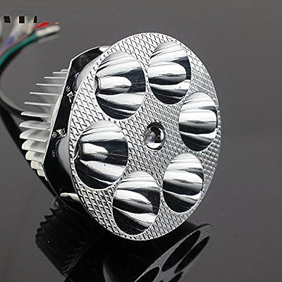 Reddragonfly - Waterproof Round White 30w 6-LED Motorcycle Universal Headlight Scooter 6000k High Low Beam Light Bulb Lamp 12v 48v 60v 72v 90v