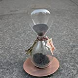 MAYMII Hand-blown Glass Sand Timer Magnet Magnetic Hourglass with a Iron Base