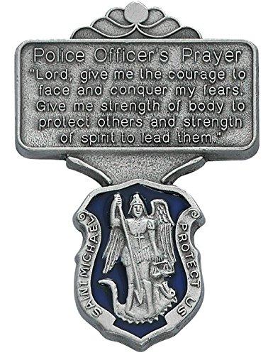 Police Officer Blue Enamel St Michael Auto Visor Clip Prayer