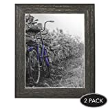 Americanflat 2 Pack - 8x10 Barnwood Rustic Picture Frames with Easels, Made for Wall and Table Top Display