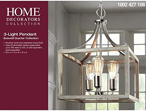 Home Decorators Collection Boswell Quarter 14 In 3 Light Brushed Nickel Chandelier With Painted Weathered Gray Wood Accents Amazon Com
