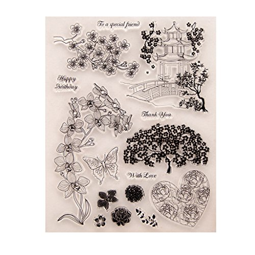 JUA PORROR Flower Transparent Clear Silicone Stamp for DIY Scrapbooking Photo Album Decor