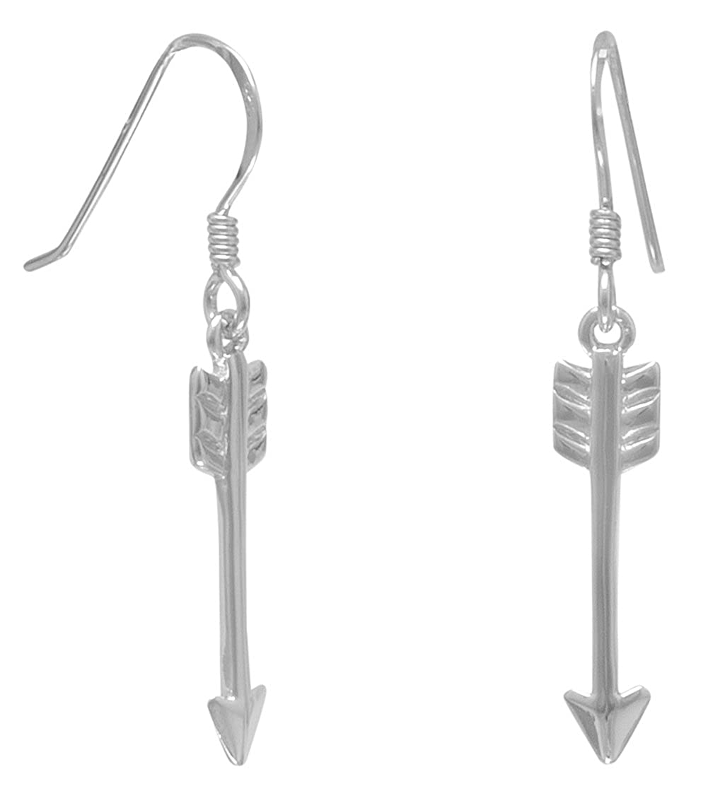 Arrow Rhodium Plated Sterling Silver French Wire Earrings 3//4 inch