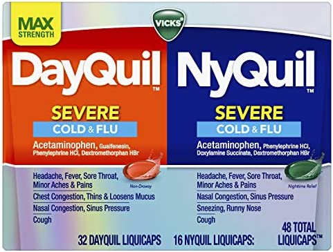 Amazon.com: Vicks DayQuil and NyQuil SEVERE Cough, Cold and Flu Relief, 48  LiquiCaps (32 DayQuil and 16 NyQuil) - Sore Throat, Fever, and Congestion  Relief, Day or Night (Packaging May Vary): Health
