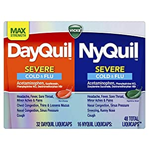Well-Being-Matters 513pLUOys6L._SS300_ Vicks DayQuil and NyQuil Severe, Cough, Cold, Flu, Sore Throat, Fever, and Congestion Day and Night Relief, Maximum…
