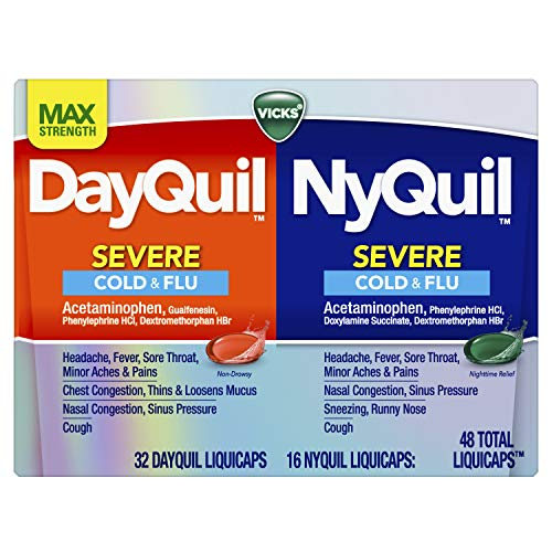 Vicks DayQuil and NyQuil SEVERE Cough, Cold and Flu Relief, 48 LiquiCaps (32 DayQuil and 16 NyQuil) - Sore Throat, Fever, and Congestion Relief, Day or Night