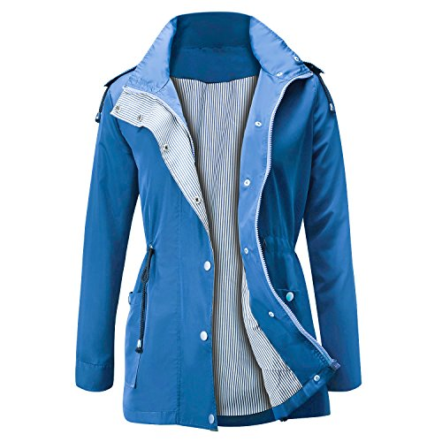 Unbrand Active Impermeabili Cappuccio Da Donna Trench Outdoor Con Giacca Blu Antipioggia FgpTFqrPw